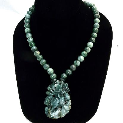 C3384 - carved spinach jade rooster and chicks, spinach jade necklace