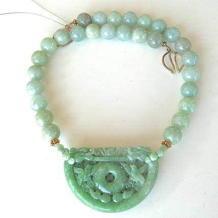 C3351 carved green jade double dragon lock, jade beads necklace