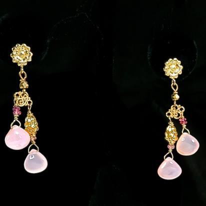 CE4805 3 -Pink Chalcedony Drop Earrings