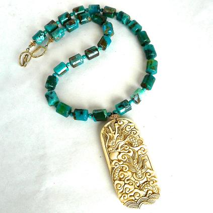 C3263 -2 Mammoth ivory dragon & phoenix, Peruvian opal necklace