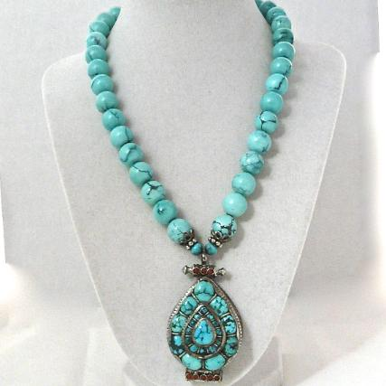 C2236 3 Indian silver and tuquoise gau box. natural Chinese turquoise necklace
