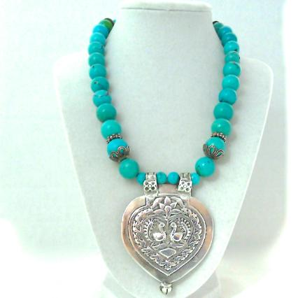 C850 3 Antique Indian silver double peacock pendant, natural Chinese turquoise necklace