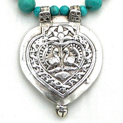 C850 2 Antique Indian silver double peacock pendant, natural Chinese turquoise necklace