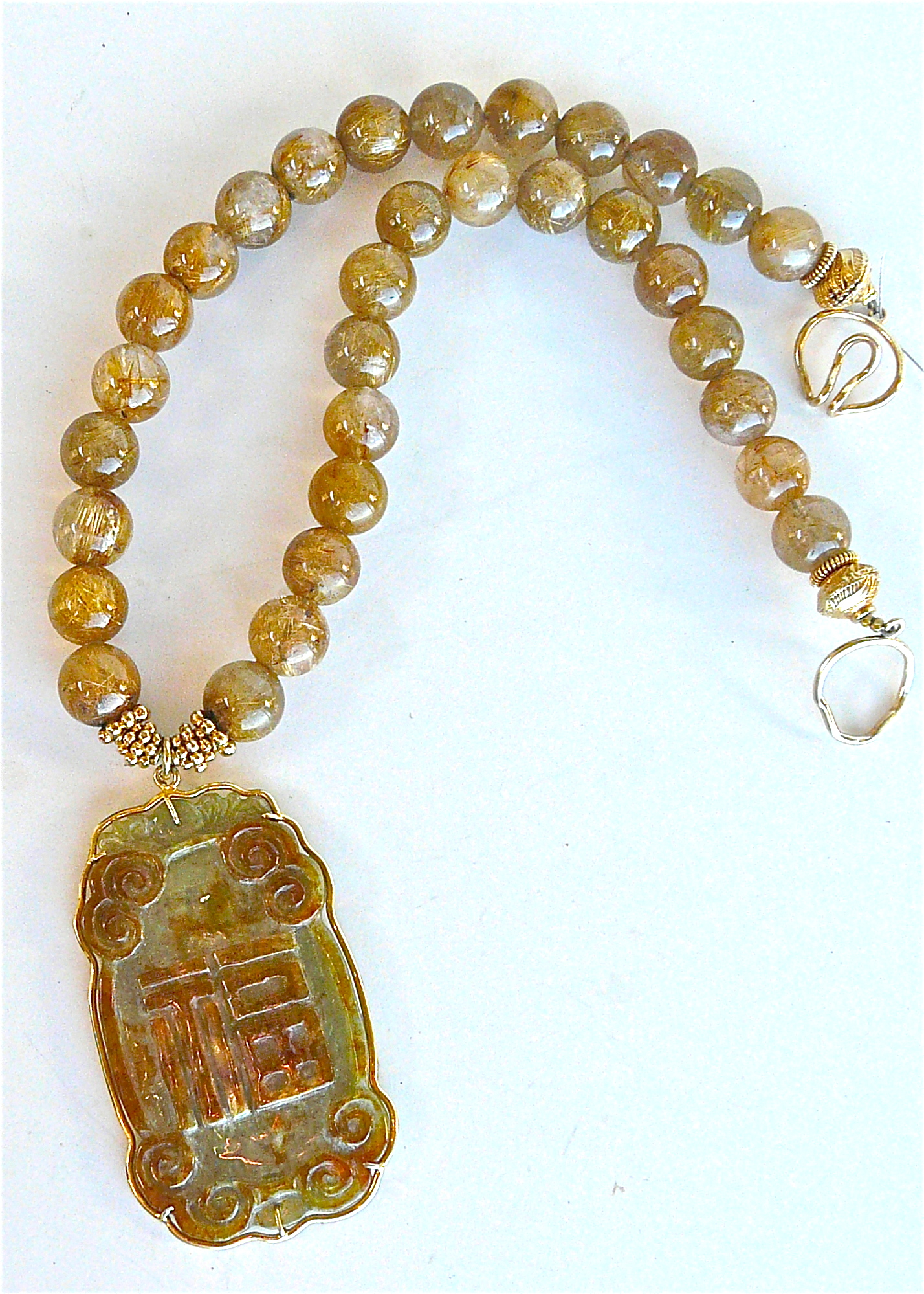 Jade script wrapped in 18k gold vermeil golden rutilated for Golden rutilated quartz jewelry