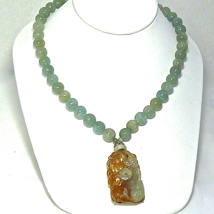 C2032 b Jade Fish, Lotus, Pi, Aquamarine Necklace