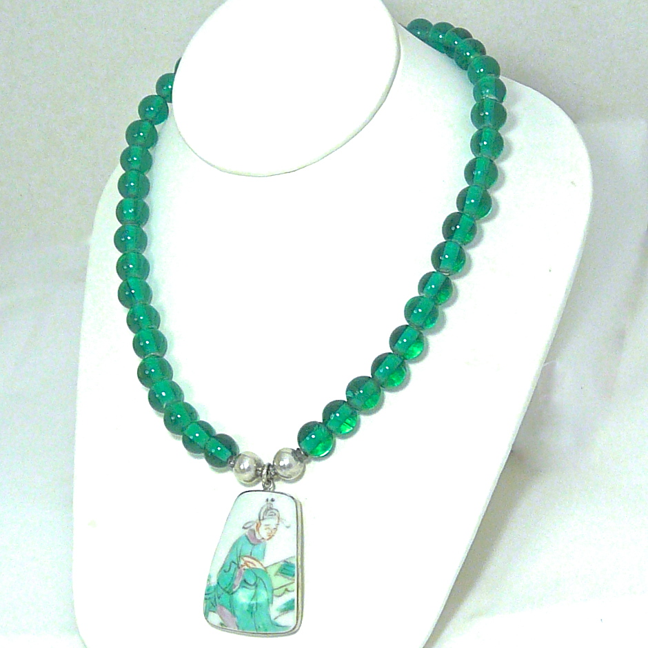 c2725 Ching Dynasty porcelain shard, green Indonesian glass necklace