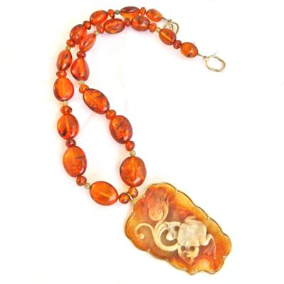 C3605 golden jade frog and lotus, Baltic amber 14k gold necklace